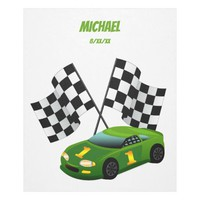 Green Race Car, Checkered Flag, Personalized, Fleece Blanket