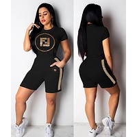 FENDI Summer Fashion Women Casual Sequins Print Short Sleeve Top Shorts Two-Piece Set Sportswear Black