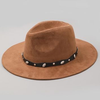 Faux Suede Studded Hat