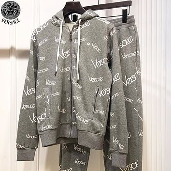 Versace New fashion more letter print hooded long sleeve coat and pants two piece suit Gray