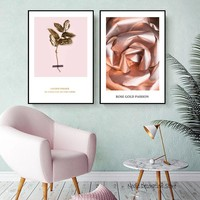 Posters And Prints Nordic Rose Gold Poster Flower Wall Prints Home Decor Wall Art Canvas Painting Abstract Art Print Unframed