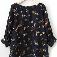 Navy Carriage Print Chiffon Half Sleeve Blouse
