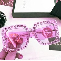 GUCCI new fashion women's diamond sunglasses personalized sunglasses Pink Diamond