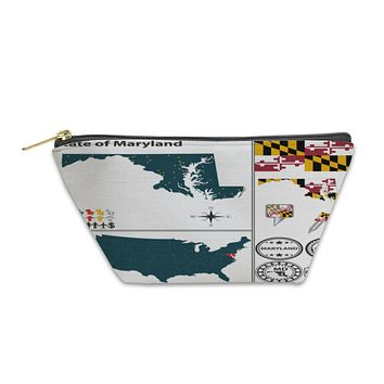 Accessory Pouch, Map Of State Maryland USA