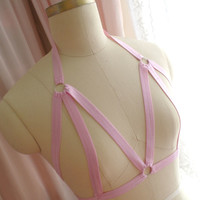 Handmade Sweet Lolita Goth Gothic Baby Pink Stretch Body Harness Cage Bondage Burlesque Frame Bra Br on Luulla