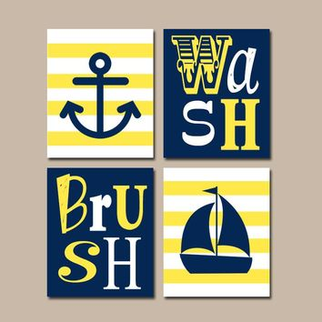 Nautical BATHROOM Wall Art Canvas or Prints Yellow Navy Bathroom, Brother Sister, Ocean Anchor Sailboat, Set of 4 Wash Brush Bath Rules