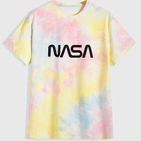 Fashion Casual Men Tie Dye Letter Graphic Tee