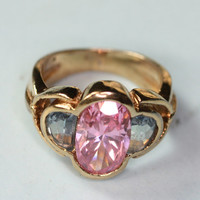 Vintage Pink and Blue Faceted Glass Sterling Ring Gold Plated