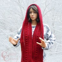 Red Crocheted Hooded Scarf   cathycreates.net