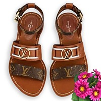 LV Shoes Louis Vuitton Sandals Flat Shoes Lock Buckle Shoes Brown