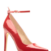 Red Faux Patent Leather Ankle Strap Pointy Heels