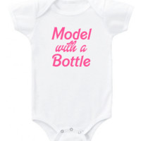 """Funny """"Model with a Bottle"""" in pink Barbie font graphic short or long sleeve baby bodysuit/toddler"""