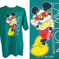 Vintage Mickey Mouse T-Shirt, Walt Disney, 80s Graphics Tshirts, Velva Sheen, Adult XL, 90s Tee, Extra Large, Retro Burnout T Shirts, Teal