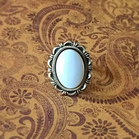 Czech Glass Cabochon Adjustable Statement Ring