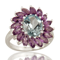 925 Sterling Silver Solitaire Blue Topaz And Amethyst Floral Ring