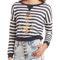 Striped Anchor Graphic Sweatshirt by Charlotte Russe