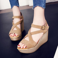 Bohemia Summer New Open Toe Fish Head Fashion platform High Heels Wedge Sandals