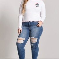 Plus Size Laser Kitten Embroidered Top