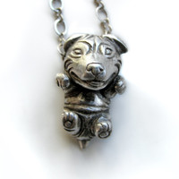 Staffordshire bull terrier puppy dog silver necklace