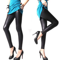 Women Footless Liquid Wet Look Shiny Slim Stretch Leggings/Faux Leather Legging