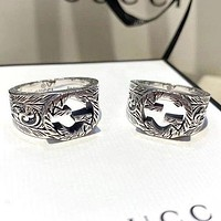 GG Silver Letter G Hollow Pattern Men's and Women's Rings Carved Pattern Couple Ring