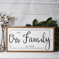 Family Sign with Custom Year - Large