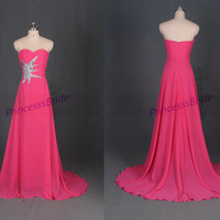 2014 long chiffon prom dresses in rose red,sweetheart bridesmaid dresses with sweep train,elegant women gowns for evening party.