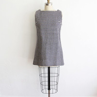 Vintage 60s Woven Wool Houndstooth Mini Dress   XS Small