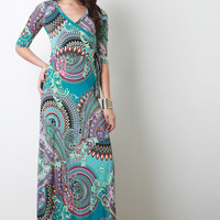 Abstract Paisley Print Maxi Dress