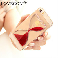 LOVECOM New Crystal Clear Quicksand Sand Clock Transparent Flowing Hourglass Pattern Back Cover Phone Case For iphone 5 5S SE