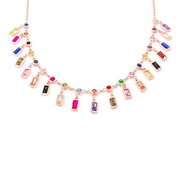 Multicolor Colorful Zircon Baguette Dangle Rectangle Body Chain Adjustable Anklet| 925 Sterling Silver