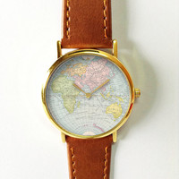 World Map Watch, Vintage Style Leather Watch, Women Watches, Boyfriend Watch, World Map, Men's Watch,  Silver Gold Rose , Blue Yellow Pink