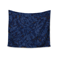 """Will Wild """"Blue & Gold Marble"""" Navy Abstract Wall Tapestry"""