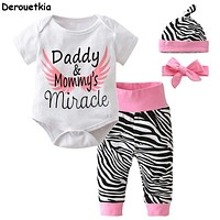4pcs Newborn Infant Baby Girls Clothes Short Sleeve White Bodysuit Tops+Zebra Pants+Headband+Cap Toddler Outfit Set