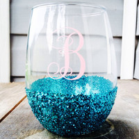 Stemless; stemmed; wine glass; glitter dipped; wedding; gifts; monogram; personalized; bridesmaids