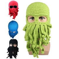 Cthulhu Octopus Knit Hat Winter Warm Knitted Ski Face Mask Unisex