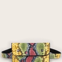 Snakeskin Multicolor Scarf Print Flap Bum Bag
