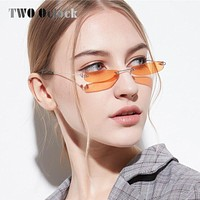 TWO Oclock 90s Mini Sunglasses Women Small Oval Rimless Tinted Yellow Lens Glasses Ladies Vintage Eyeglass Clear Small 8813033