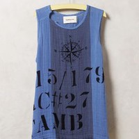 North-South Gauze Tank by Tambourine Blue Motif
