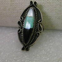 Sterling Silver Turquoise, Onyx, Mother-of-Pearl Inlaid Zuni Ring, sz. 7.5 - Southwestern