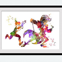 Peter Pan and Captain Hook colorful poster Peter Pan watercolor print Disney art decor Home decoration Kids room decor Nursery room art W512
