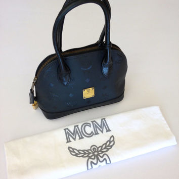 RARE!!! Authentic Vintage MCM Germany Monogram Black Nylon Mini Alma Handbag With Padlock & Key