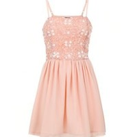 New Look Mobile   Teens Pink Sequin Strappy Dress