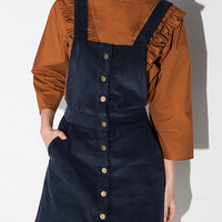 Blue Button Front Overall Dress