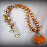 amber resin necklace-abacus bead necklace-miao silver necklace-synthetic amber bead necklace