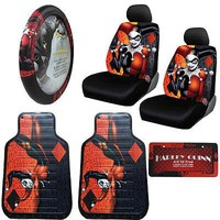 Licensed Official New Harley Quinn Car Truck Front Seat Covers Floor Mats Steering Wheel Cover Set