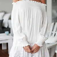 White Long Sleeves Off Shoulder Mini Dress with Elastic Cuffs