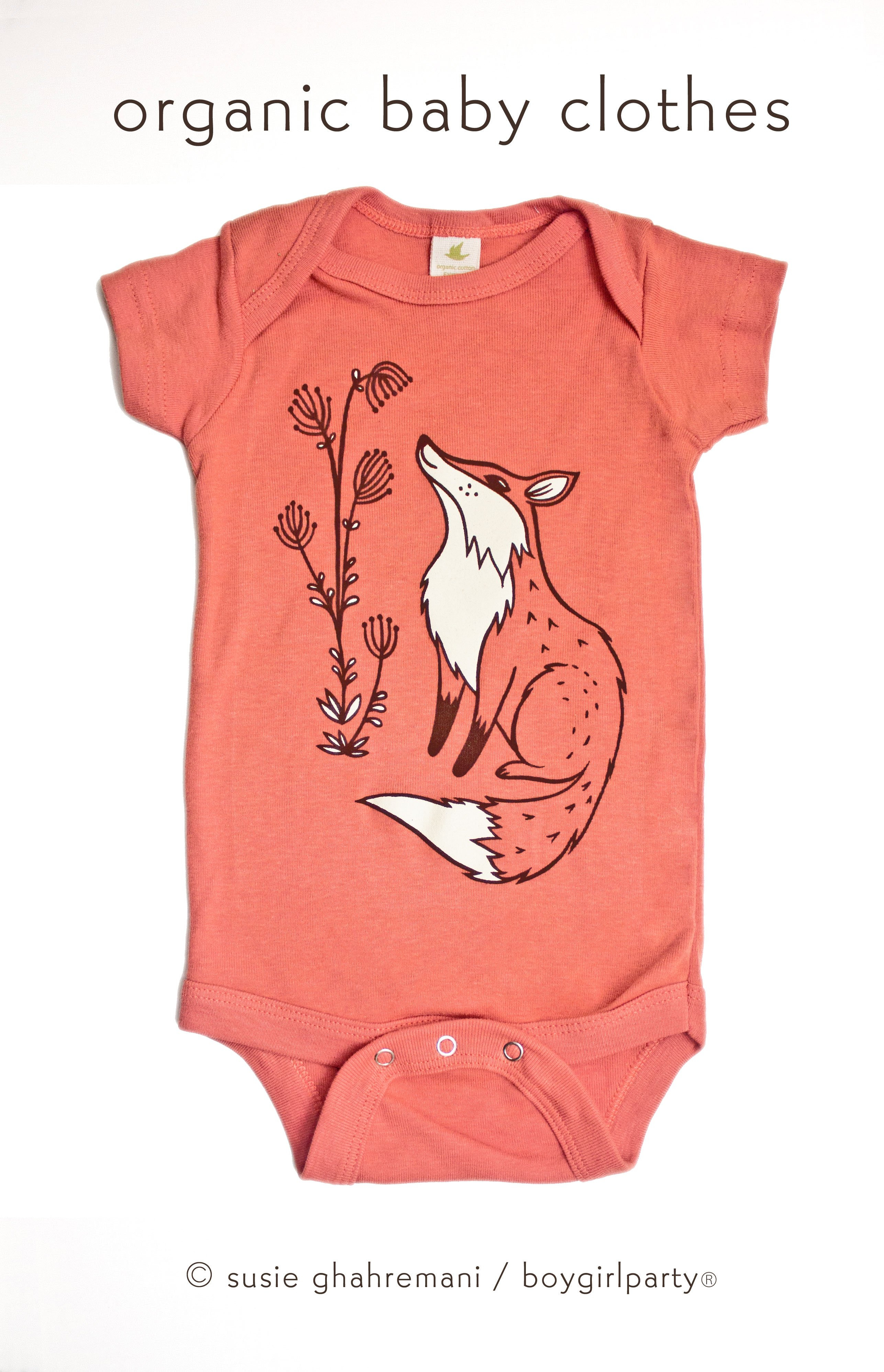 Image of Organic Fox Baby Clothes — Fox Onesuit — Fox Baby Gift