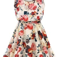 Women Casual Floral Print Sleeveless Chiffon Party Cocktail Mini Dress