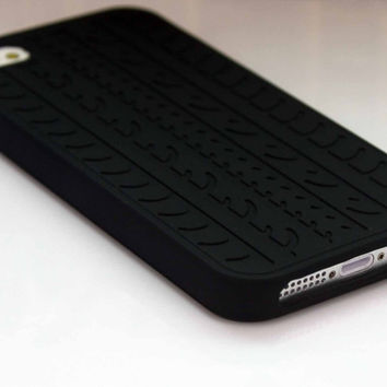 Rubber Tyre Silicone Black Soft Skin Cover Ultrathin Case for Apple iPhone 5 5S